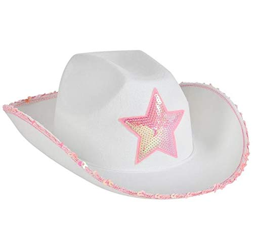 Amazon Com Rhode Island Novelty White Felt Cowgirl Hat With Pink Star One Hat Toys Games Pink Cowboy Hat Cowgirl Hats White Cowboy Hat