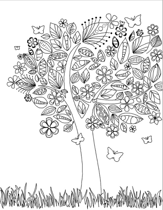 Adult Tree With Flowers Coloring Pages Printable And Book To Print For Free Find More Online Kids Adults Of