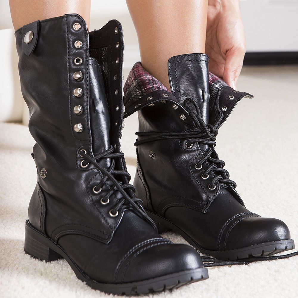Army Chic Distressed Lace-up Fold-over Combat Mid-Calf Boots Black All Sz.  Women's ...