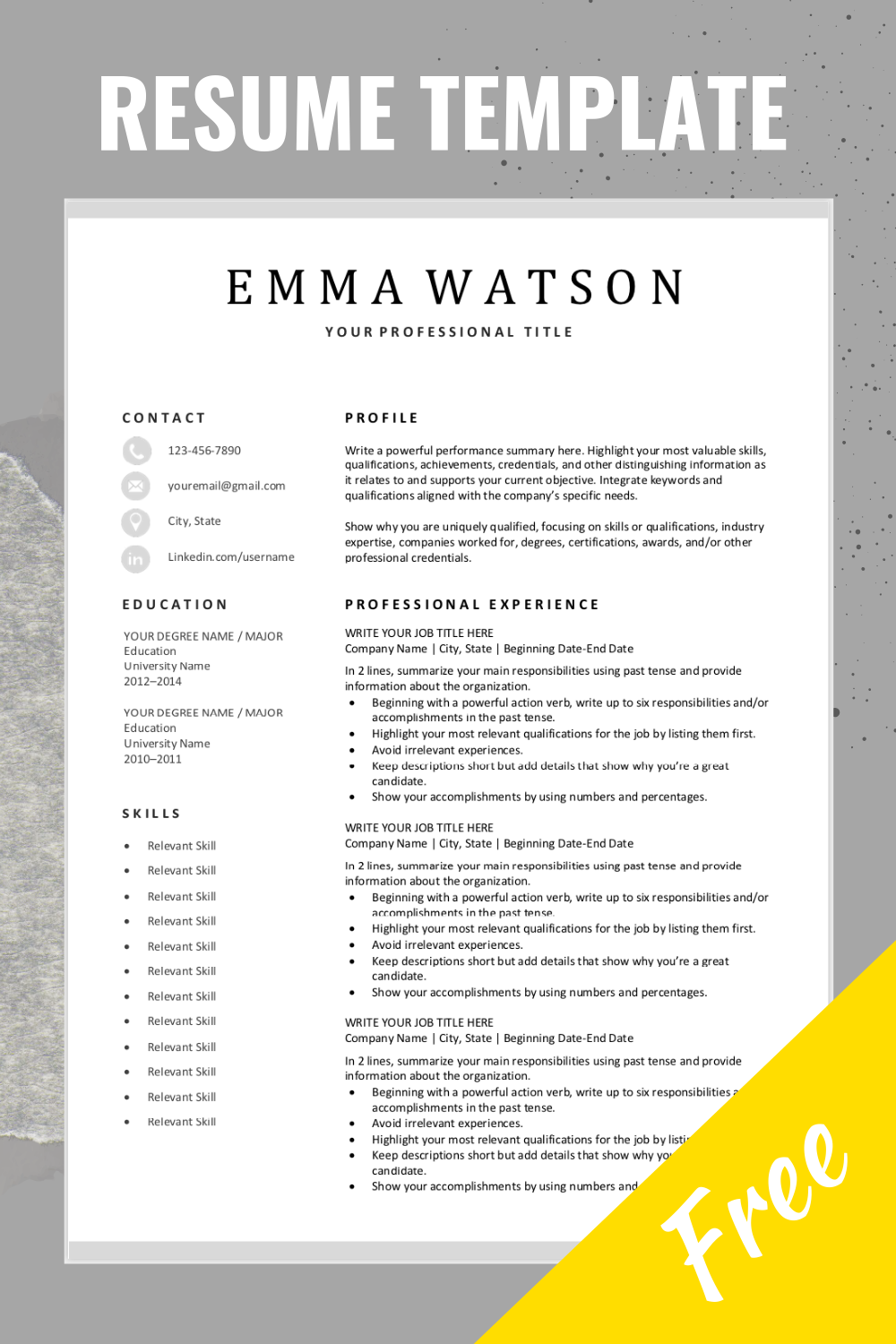 Looking For A Free Editable Resume Template Sign Up For Our Job Search Tips And Download This Templat Resume Template Job Resume Examples Resume Writing Tips