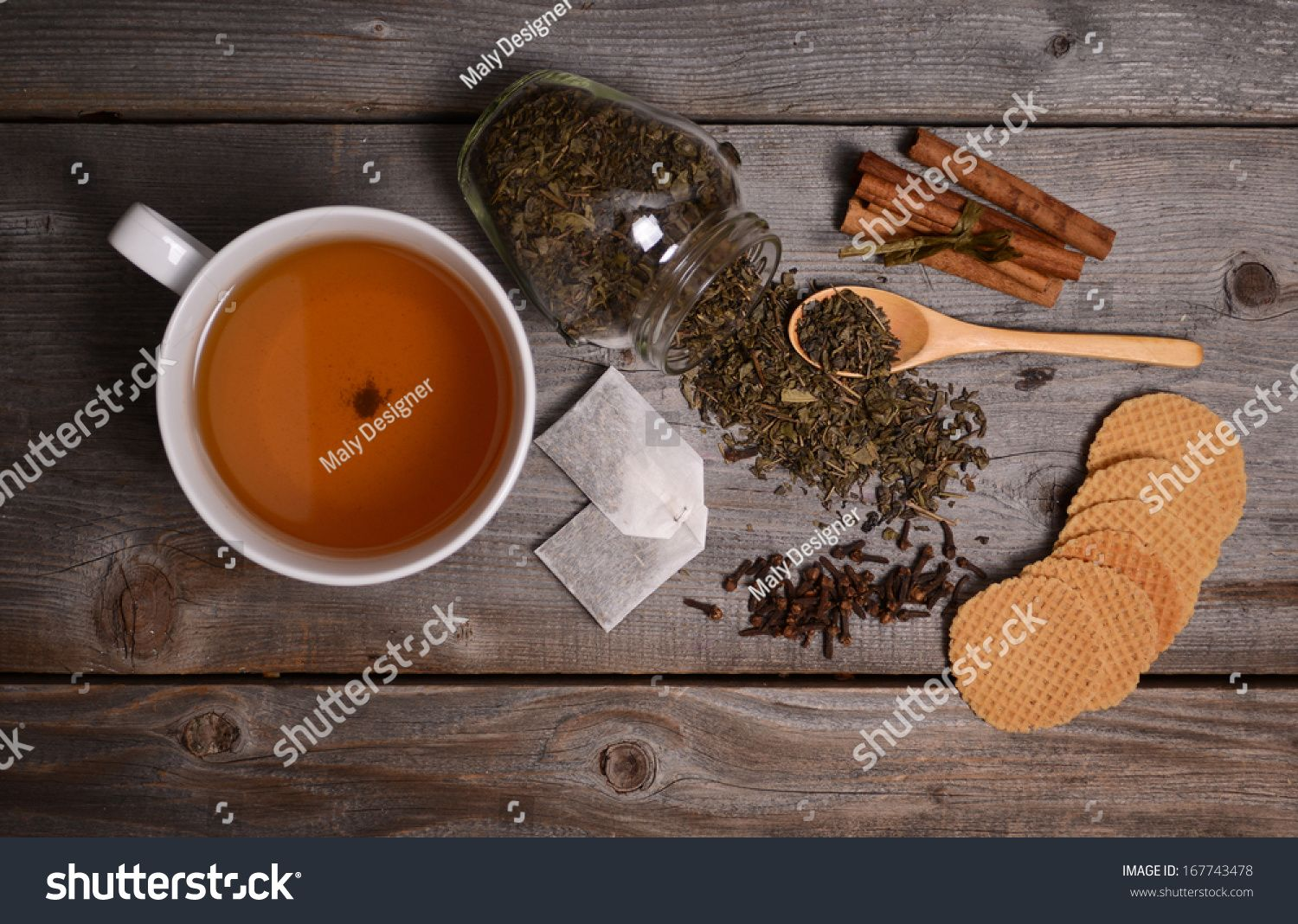 Photo of Cup Green Tea Cinnamon Cookies On Stock Photo (Edit Now) 167743478