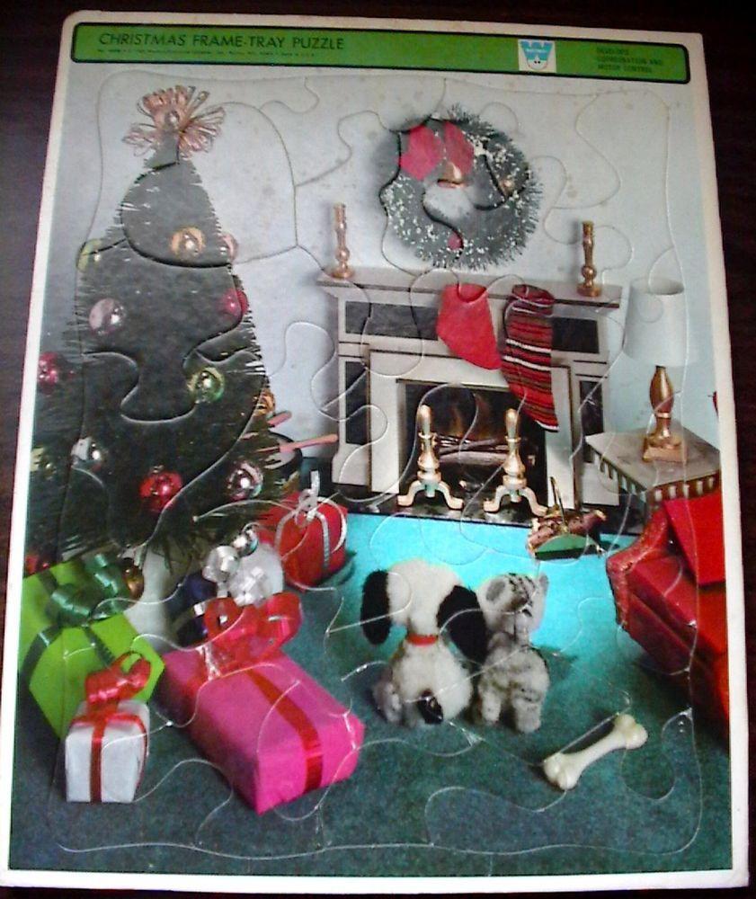 1969 WHITMAN PETITE PRINCESS DOLL HOUSE CHRISTMAS FRAME TRAY PUZZLE & KEN'S SOCK #WhitmanWesternPublishingCompanyInc