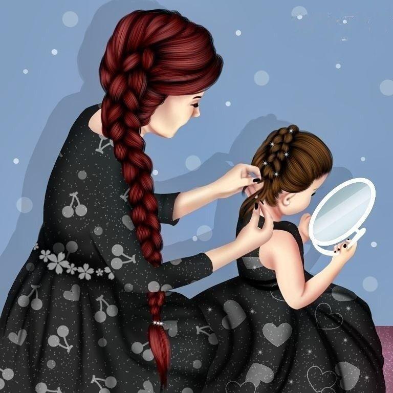 Картинки мама дочь нарисованные