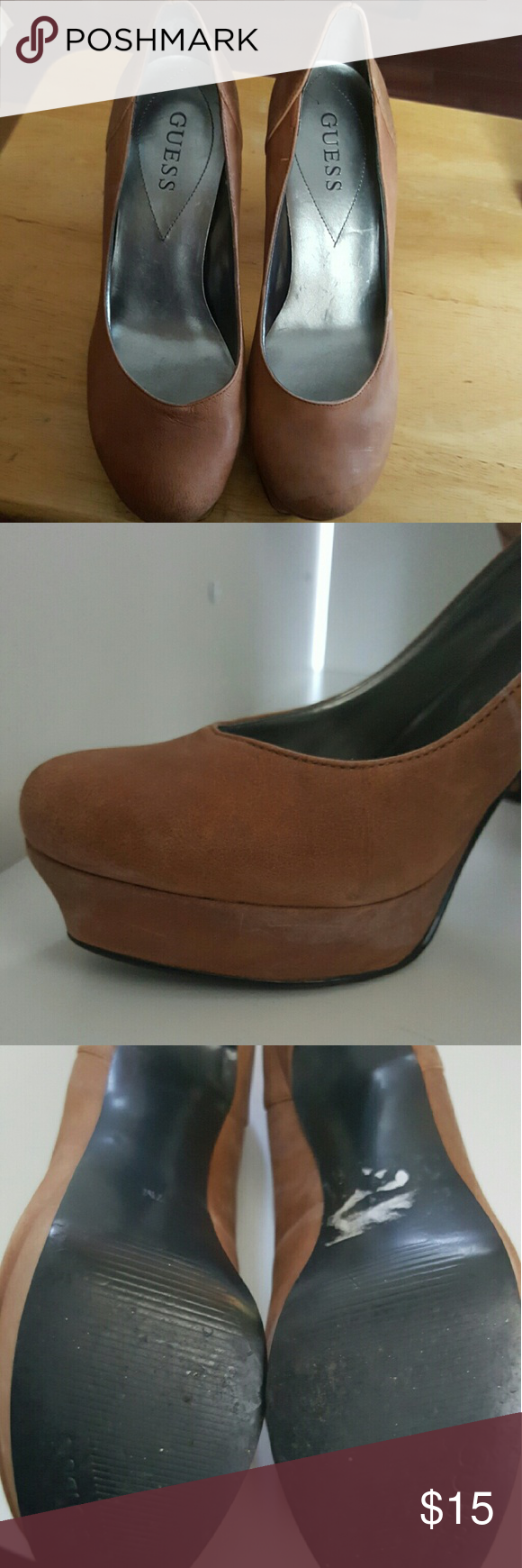 Uncategorized Leather Like Material guess brown pumps size 7 great condition hidden platform soft leather like material 7m