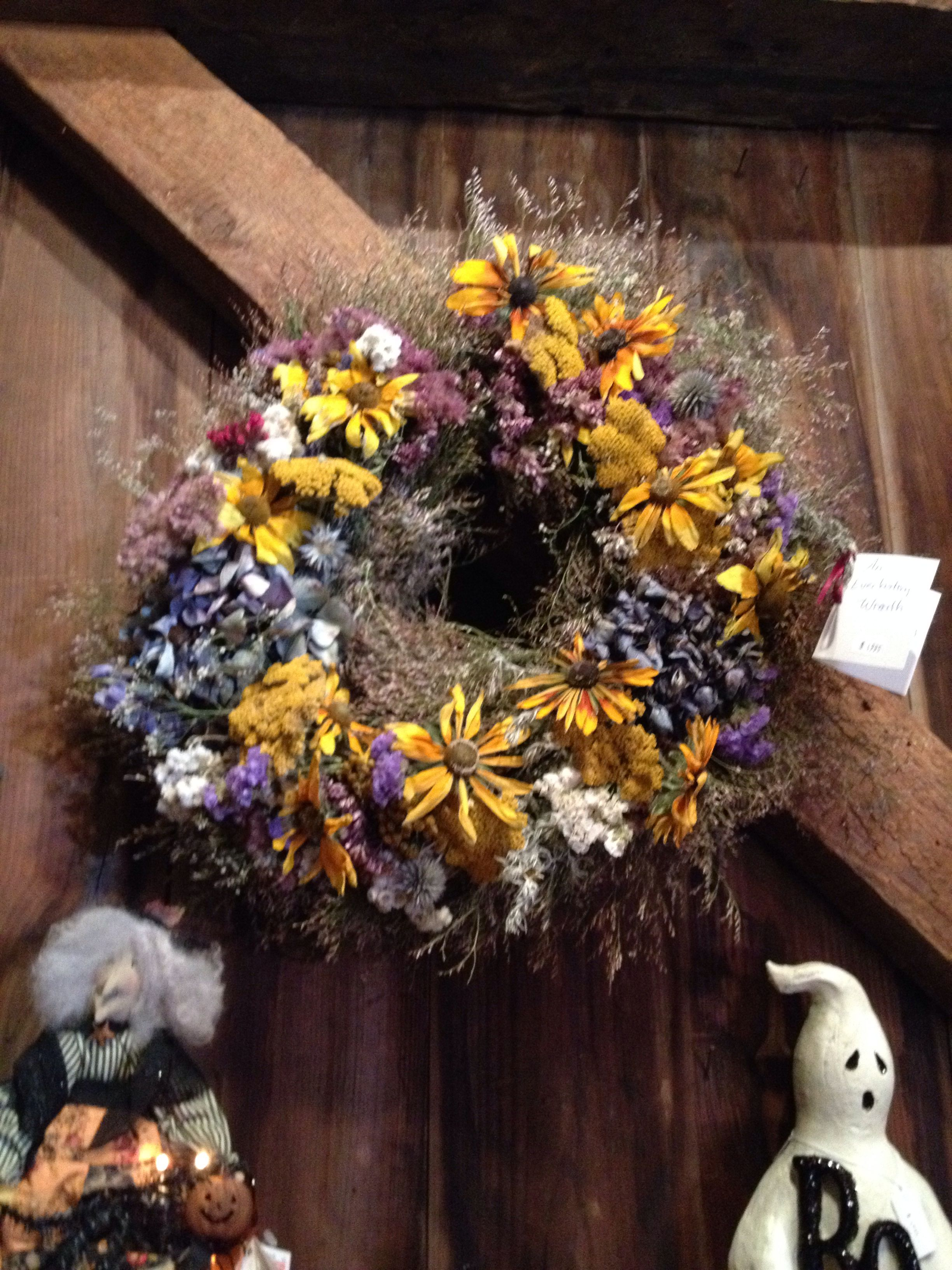 Dried flower wreath could also use plastic flowers for