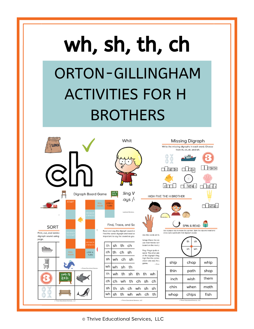 H Brother Digraphs Bundle Multisensory Teaching Dyslexic Students Synthetic Phonics [ 1056 x 816 Pixel ]