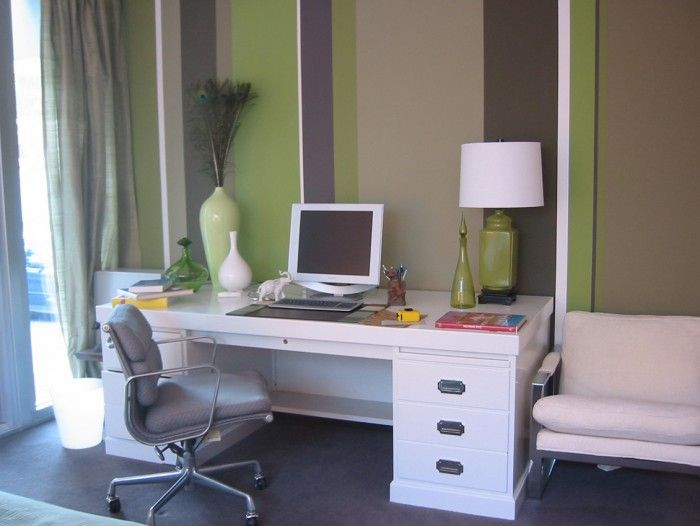 Hollywood Regency home office with green striped walls « Jill Crawford Interiors