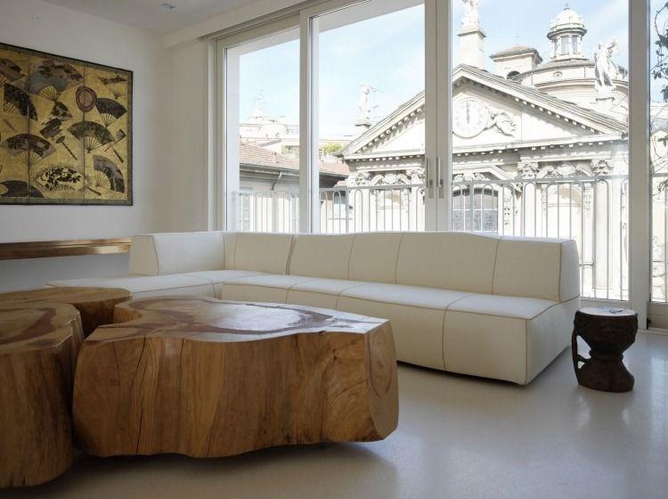 Table basse bois massif dans le salon en 55 designs supers ...