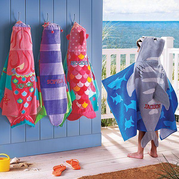 Stephen Joseph Beachy Fun Hooded Beach Towels Personalized
