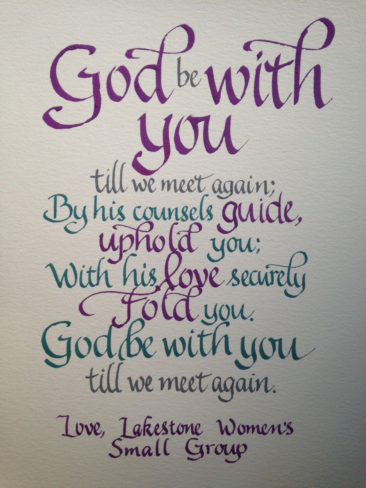 Goodbye Farewell Gift Words From A Classic Hymn With Images