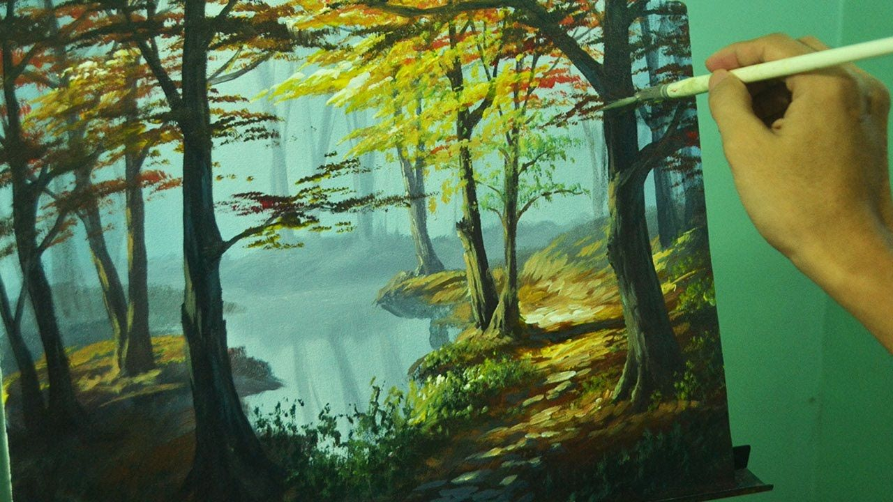 Acrylic Painting Lesson Autumn In Forest By Jm Lisondra Landscape Painting Tutorial Forest Painting Landscape Painting Lesson