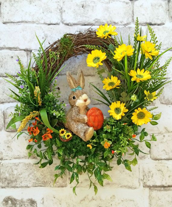Spring Wreath, Bunny Wreath, Front Door Wreath, Silk Floral Wreath ...