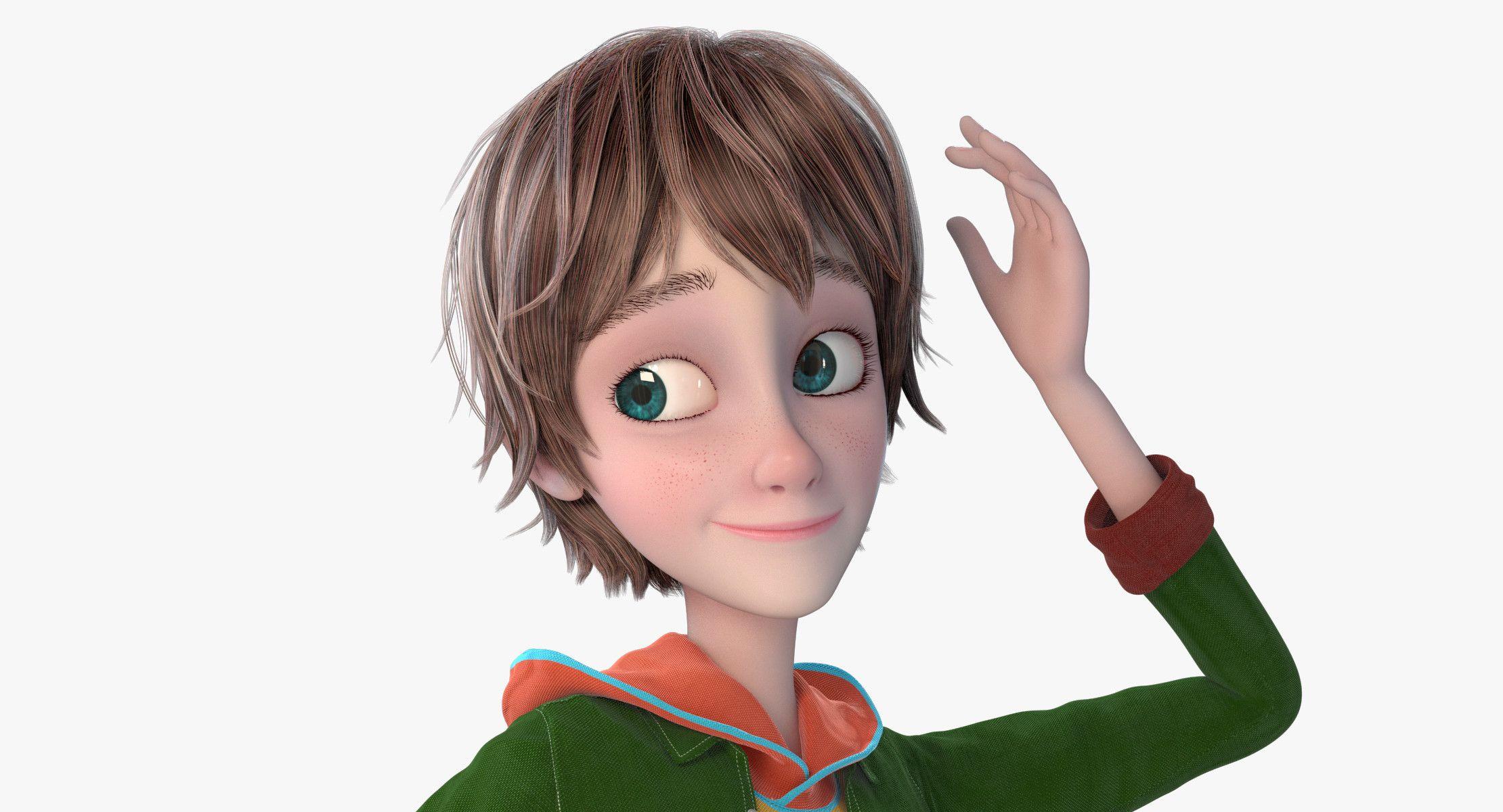 Cartoon Boy Rigged Cartoon boy, 3d model, Fantasy model