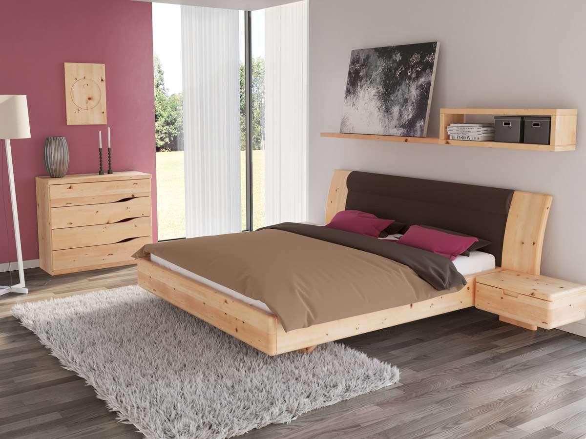 schlafzimmer aus massivholz zirbe mit zirbenbett nadine 180 x 200 cm mit breiten nachttischen - Schlafzimmer Vom Tischler Preis