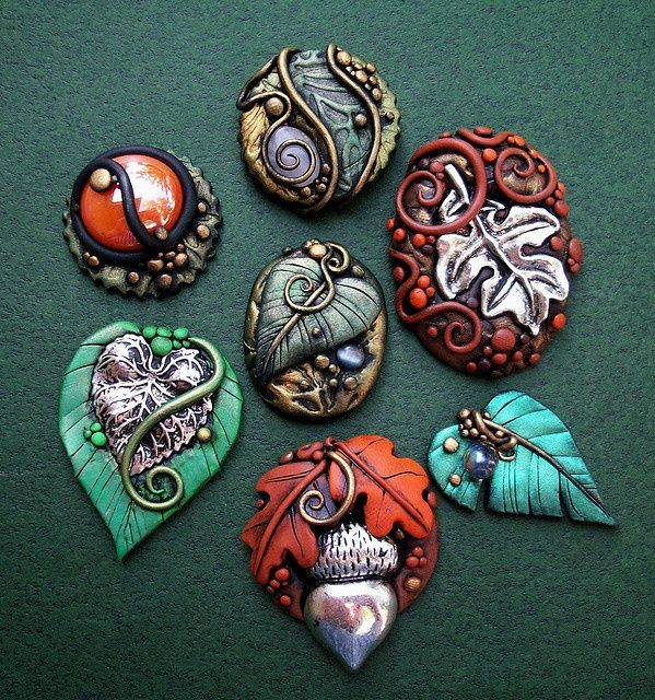 Assorted fall cabochons polymer clay pendant polymer clay and polymer clay pendants by mandarin moon aloadofball Gallery