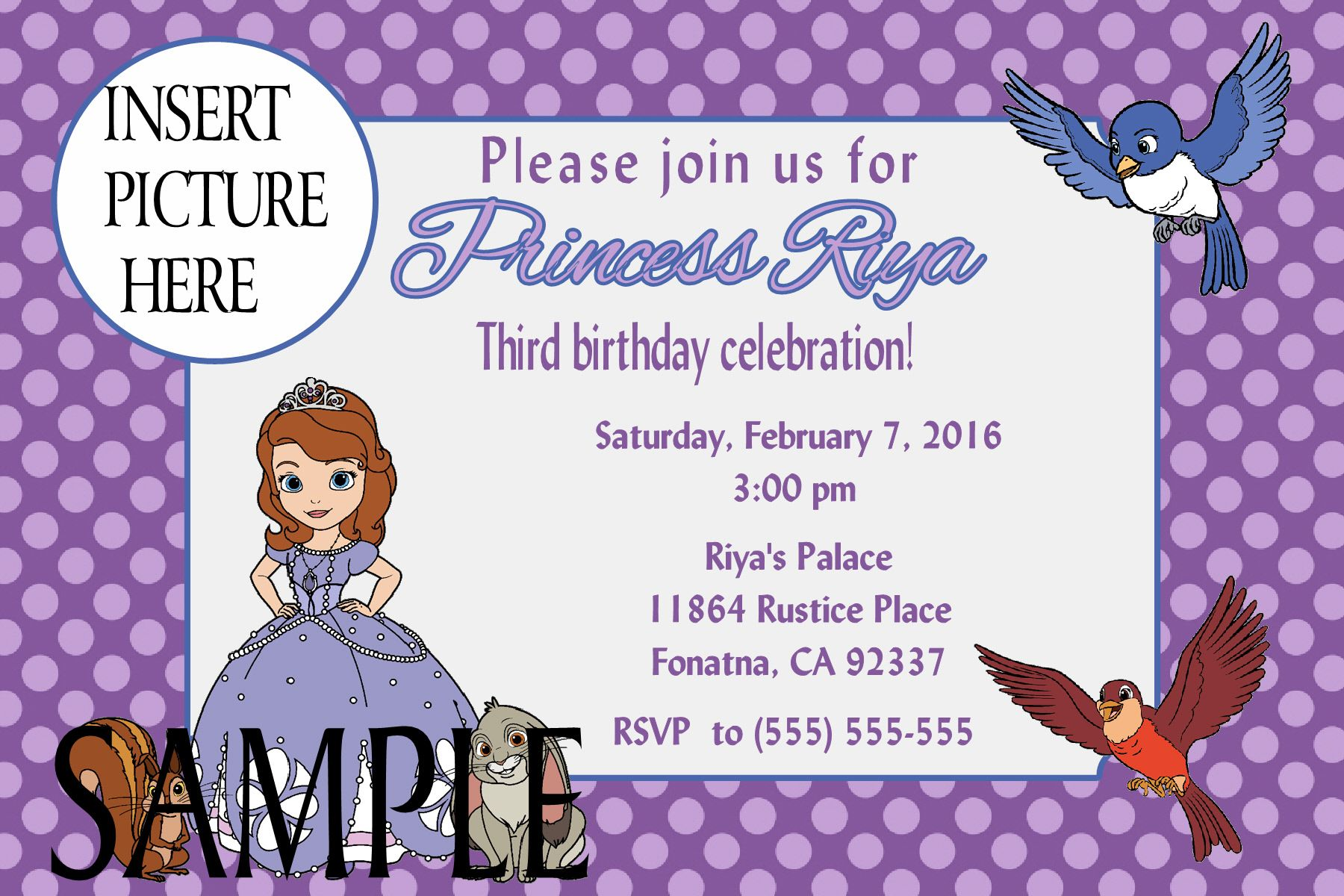 Sofia the First Birthday Invitation. Click on the image twice to ...