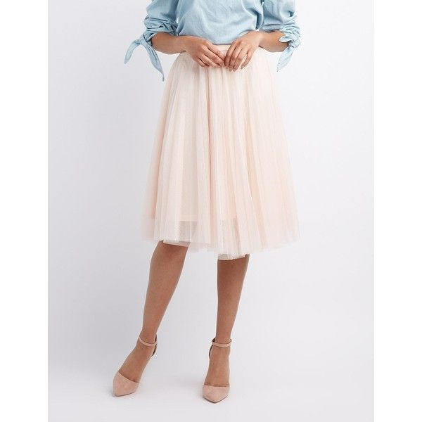 ecd247a3f9 Charlotte Russe Tulle Full Midi Skirt ($27) ❤ liked on Polyvore featuring  skirts, blush, pink high waisted skirt, high-waisted midi skirts, elastic  waist ...