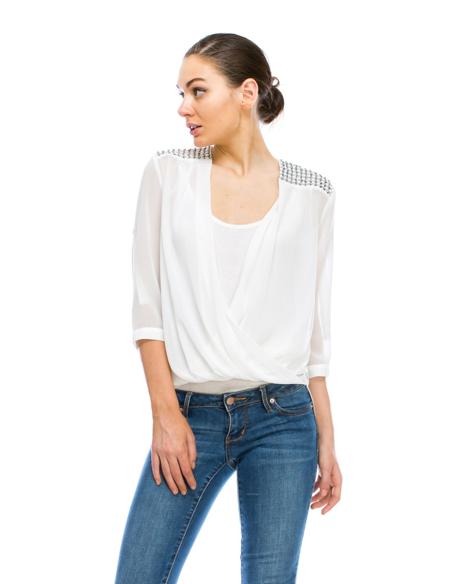 Blouse With Shoulder Trim