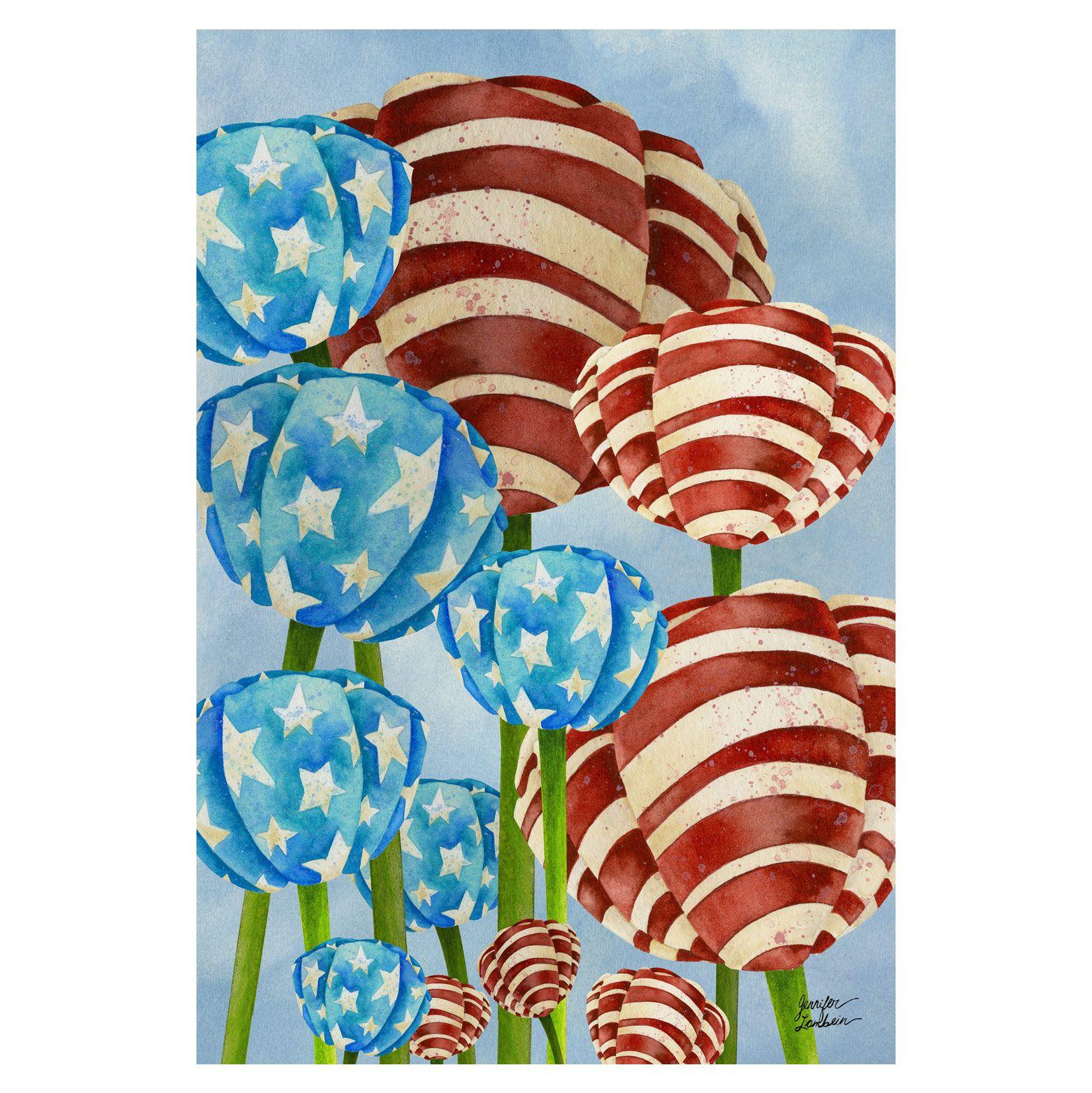 Red White And Tulip Garden Banner Tol1010219h Tulips Garden Garden Flags House Flags