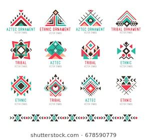 Native tribal pattern set. Colorful geometric design, aztec and indian culture design collection and ornament. Flat style vector logo isolated on white background. Seamless ornamental brush