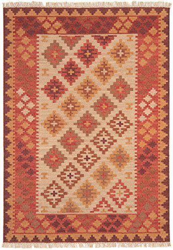 Teppich Wohnzimmer Orient Carpet Design KELIM RAHMEN RUG 80 Wolle - wohnzimmer orange beige