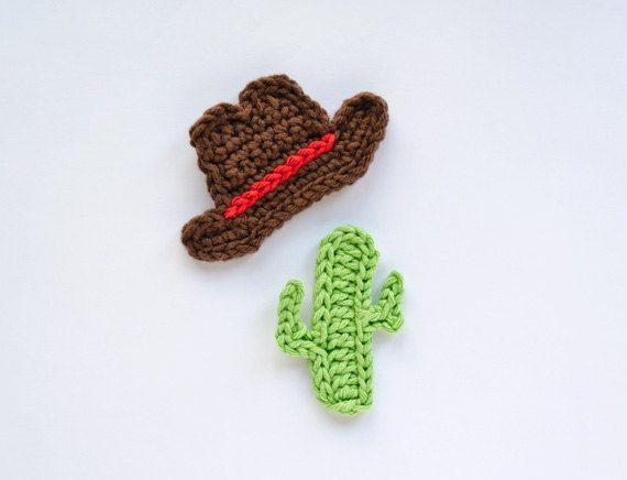 Instant Download - PDF Crochet Pattern - cappello di Cowboy e Cactus Applique - istruzioni di testo e istruzioni simbolo grafico