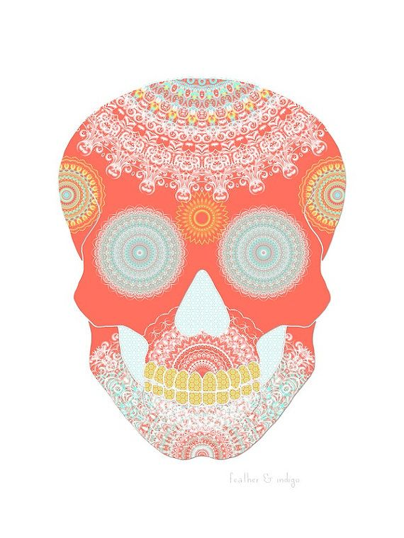 Coral sugar skull art color mandala calavera by FeatherAndIndigo
