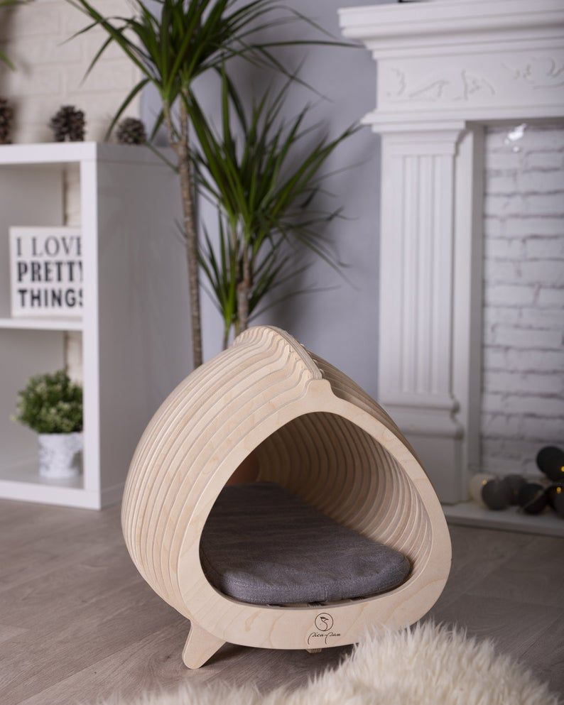 Cat Bed From Wood Cat House From Wood In 2021 Cat Bed Cat House Wood Cat