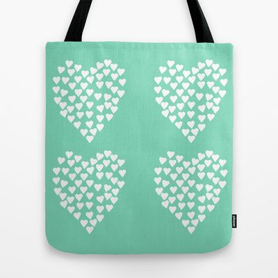 Hearts Heart x2 Mint Tote Bag #hearts #heart #love #projectm #mint #white