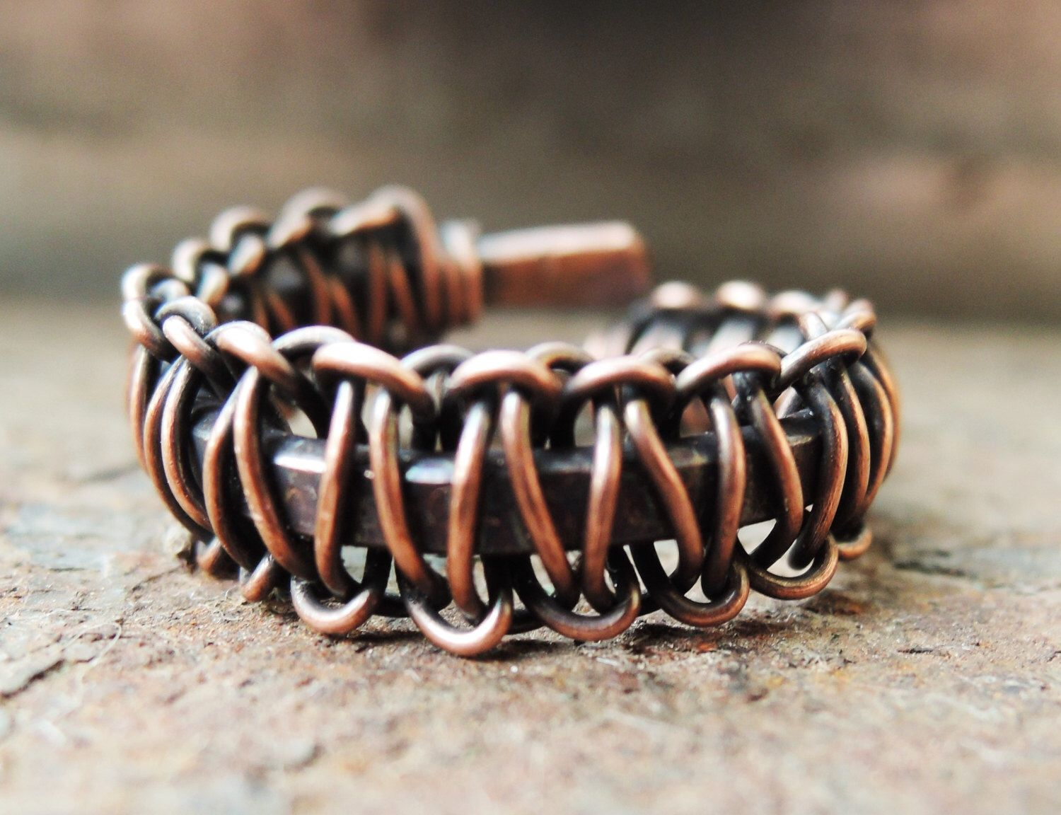 Rustic copper ring - Antiqued copper - Unisex wire wrap ring - Wire ...