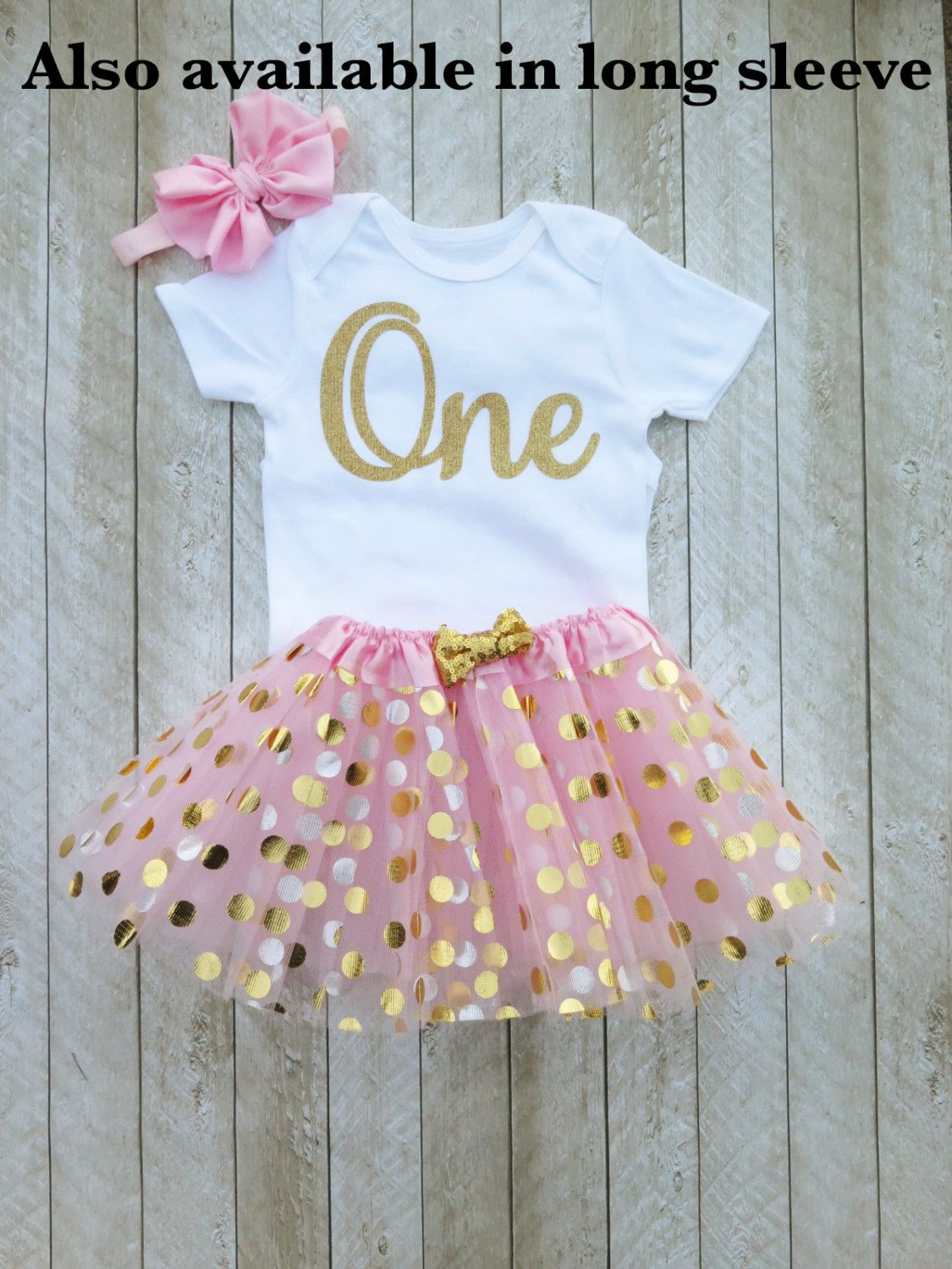 Pink and gold first birthday outfit Pink and gold tutu One year old