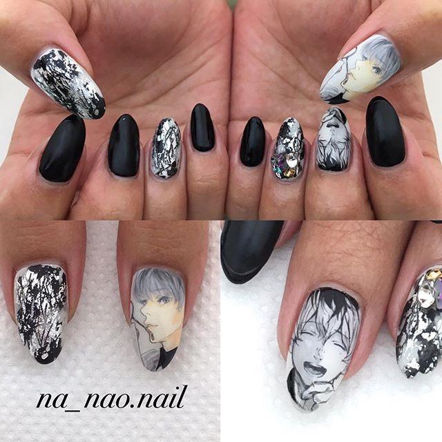 Tokyo Ghoul On Nails A W E S O M E Anime Nails Black Nail Designs Korean Nail Art