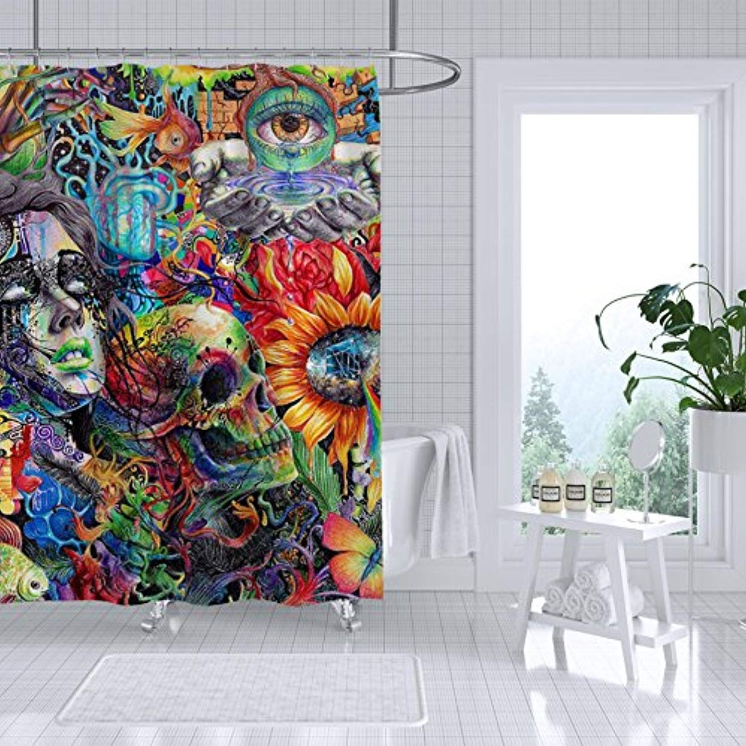Adiucmcz Crazy Trippy Shower Curtain Fabric Bathroom Decor Set Waterproof Mildew With 12 Curtain Hooks 72 I Fabric Shower Curtains Bathroom Decor Sets Curtains