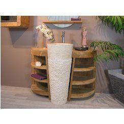 photo Soldes -15 % Vasque sur pied conique en marbre FLORENCE crème (ancien prix : 439.00€)