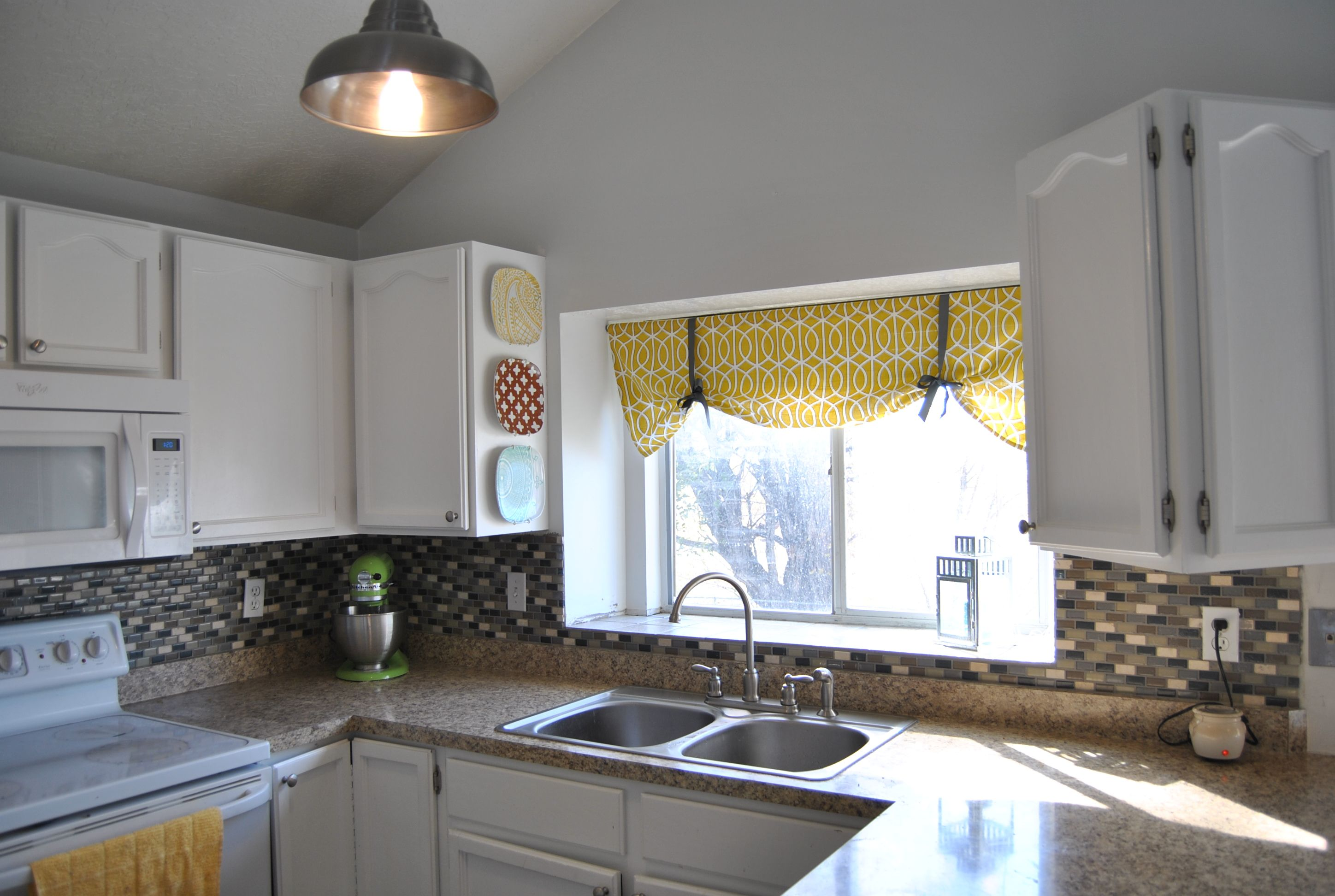 Modern kitchen window design  image detail for simple faux roman shade tutorial  the bungalow