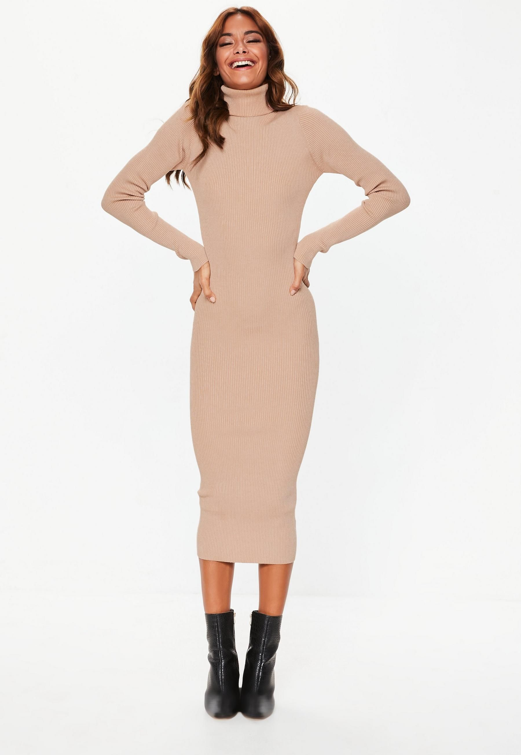 a7bac8bea32 Tan Roll Neck Ribbed Knitted Midi Dress | Missguided | black friday ...