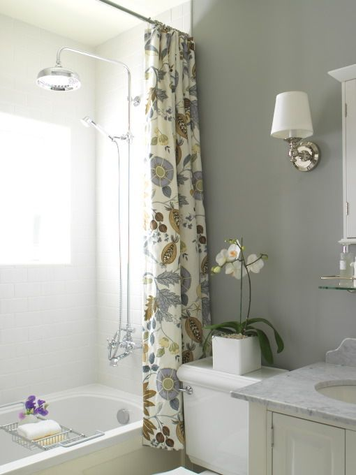 White Blue Yellow Custom Made Floral Shower Curtain From Victoria Hagan Four Seasons Fabric In Winter Rain Head Polished Chrome Sconces And Gray