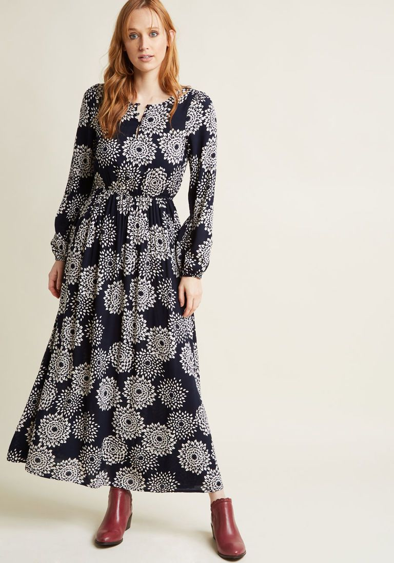 a7664cc90d49a Dahlia Printed Long Sleeve Maxi Dress in S | Products | Blue long ...