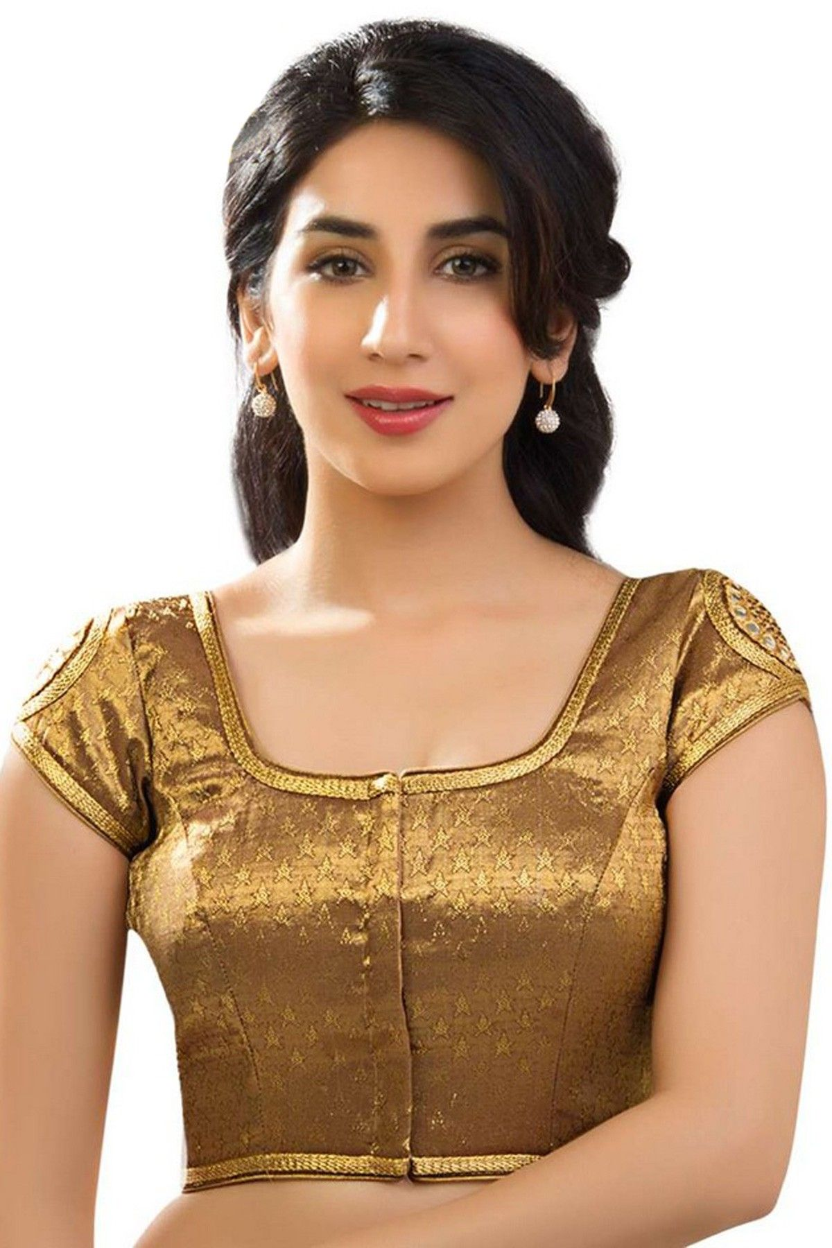 Beige golden brocade blouse blouse designs blouse designs for sarees - Bonzish Gold Festive Wear Banarasi Semi Brocade Comely Blouse With Cap Sleeves Bl744 Fashionable Saree Blouse Designsblouse