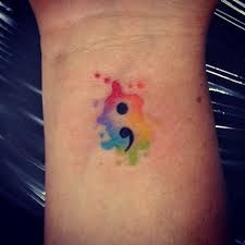 Blue Green Watercolor Semicolon Tattoo Tattoos Tattoos