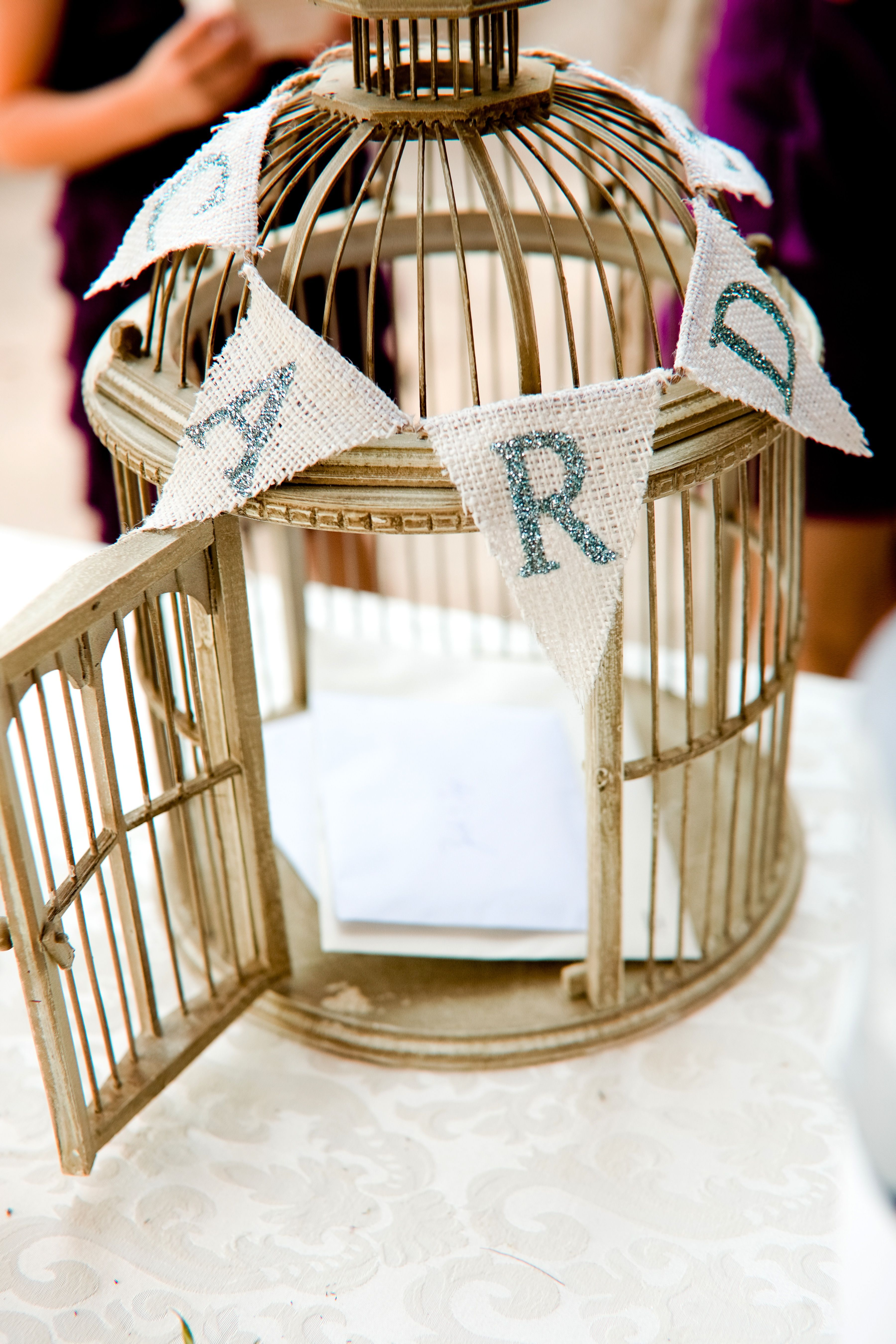 Creative Card box with a gold bird cage and burlap letters