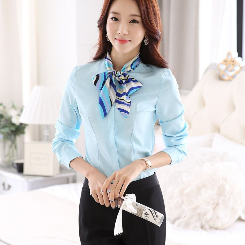 8c32728b9dfc1 Ladies OL Shirts 2015 New Fashion Women Blouse Long Sleeve Bow Tie Formal  elegant Blouses White