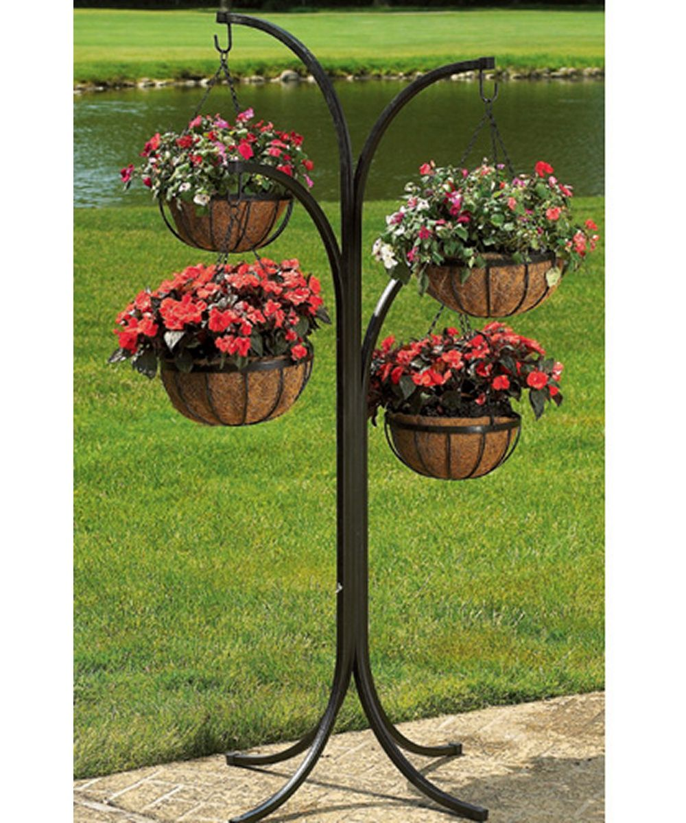 CobraCo 4 Arm Tree With 4 Hanging Baskets Plant Stand Holder Rack Patio  Decor