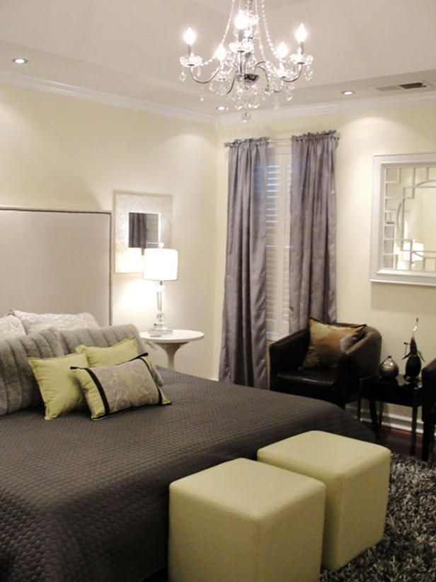 Soothing Hues - 20 Colorful Bedrooms on HGTV Muted brown might be a good idea with love seat - creamy walls, dark bedding...