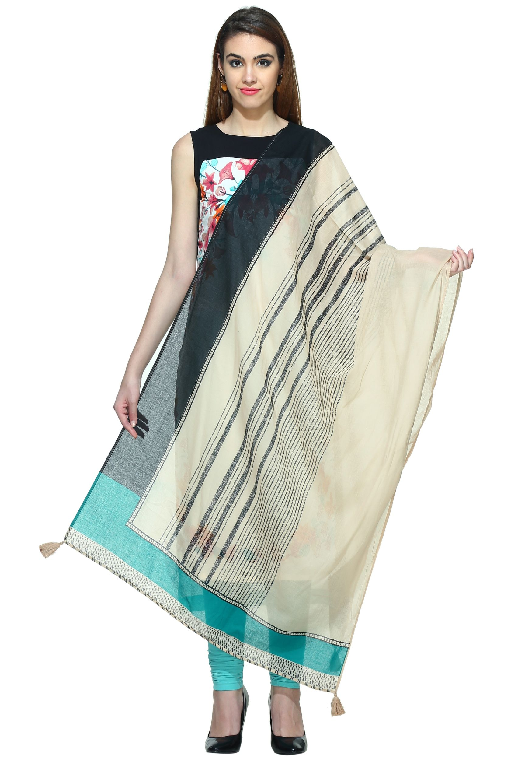 482b7072d44  Online  Shopping  India  Store Sells  W Smart Casual  Beige    Black   Dupatta like Pomp a traditional outlook with this brilliant ethnic  designed
