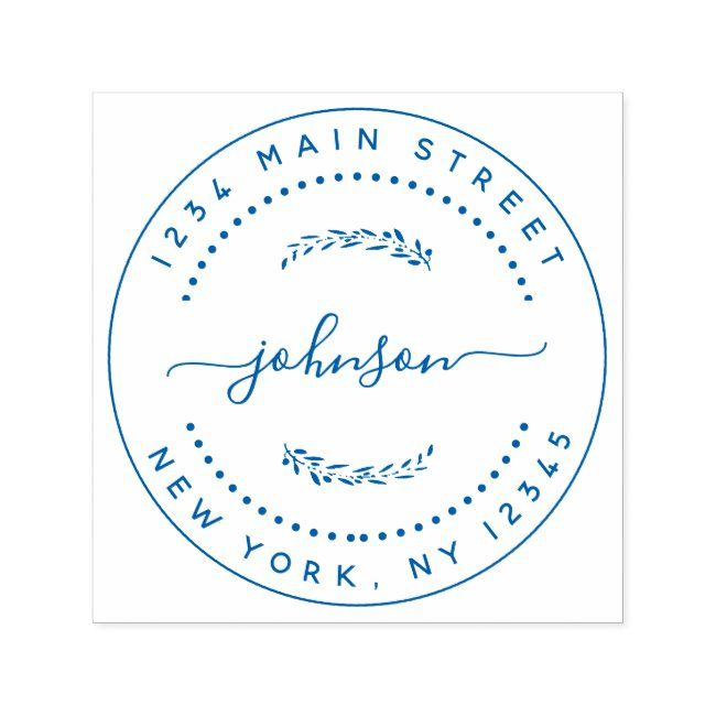Create Your Own Modern Round Return Address Selfinking Stamp