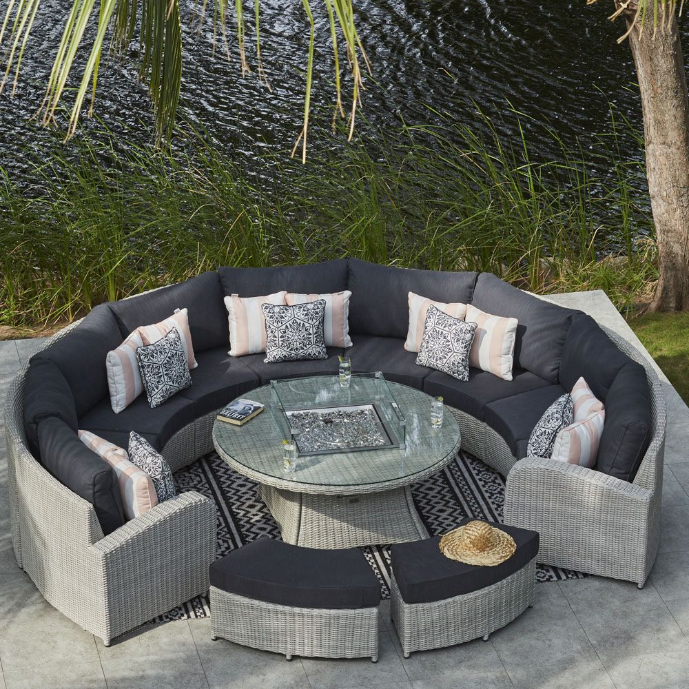 Moda Furnishings Curved Rattan Sofa With Firepit Table And