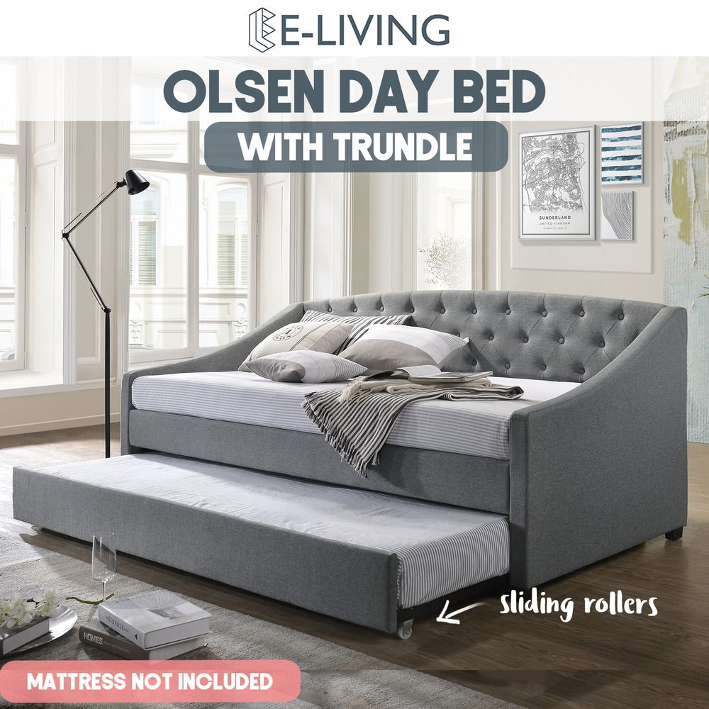 Details About Olsen Daybed With Trundle Bed Frame Fabric