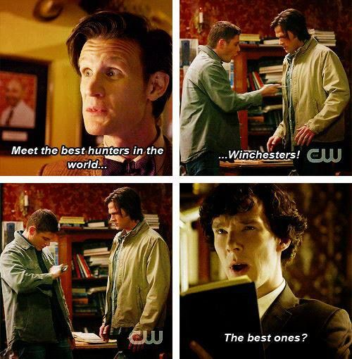 SuperWhoLock... I don't think Sherlock agrees with The Doctor that the Winchesters are the best hunters in the world.... LOL!