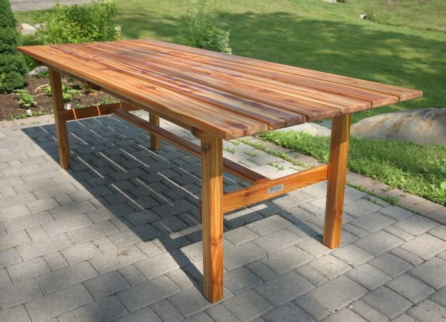 Custom 7ft Indoor Dining Table Made From Western Red Cedar And Finished  With Teak Oil.